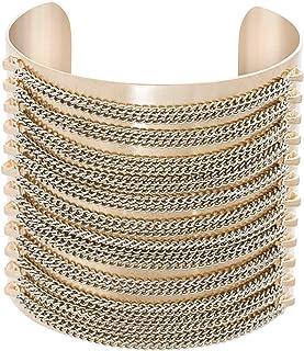 Steve Madden Women's Multistrand Stacked Chain Open Cuff Yellow Gold-Tone Bracelet