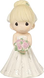 Precious Moments Perfect Couple Bride, Blonde Hair With Light Skin Tone Bisque Porcelain Wedding Figurine & Cake Topper, 172061