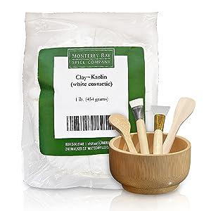 Face Mask Mixing Bowls Set Kaolin Clay 1lb Mud Powder   Natural Bamboo Bowl & Silicon Spatula Facial Cleansing Exfoliating Detox Brush Skincare Tool   DIY Blackhead Masks White Musk Maker Kit
