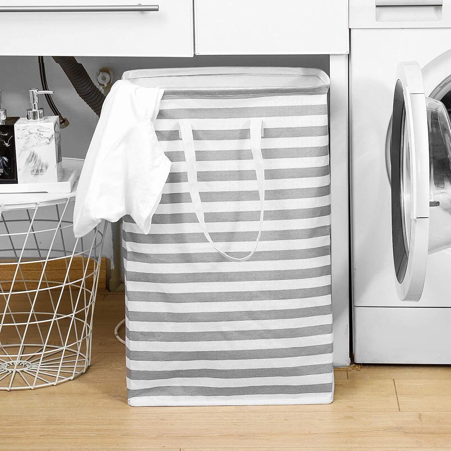 JELLYMONI Grey Striped Laundry Hamper, 72L Large Freestanding Water Resistant Clothes Hamper with Long Handles, Storage Basket, Storage Bags for Clothes Toys