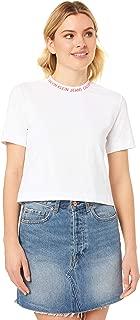 Calvin Klein Jeans Women's Neck Logo Modern Straight Crop Tee, Bright White/Hot Coral, L