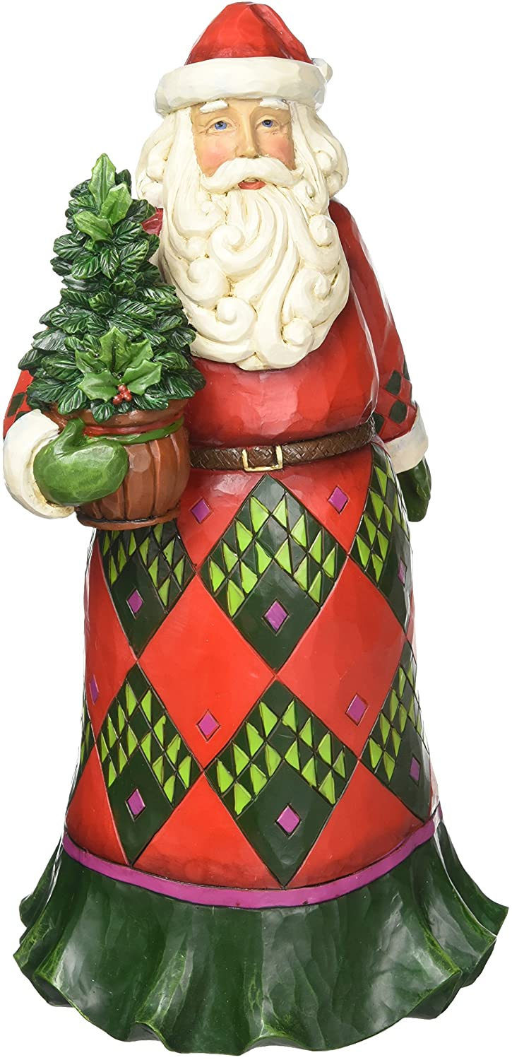 Enesco Jim Shore Heartwood Creek Santa with Evergreen 12 in Figurine