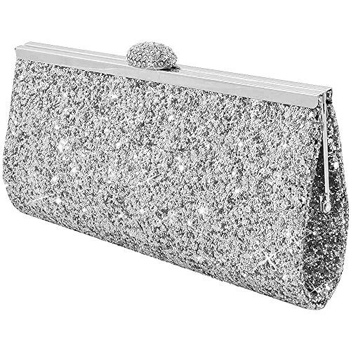 d6bc8dd7939 Wocharm Fashion Womens Glitter Clutch Bag Sparkly Silver Gold Black Evening  Bridal Prom Party Handbag Purse