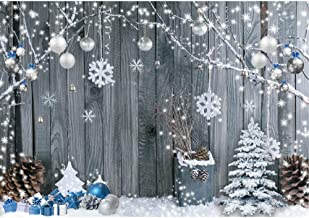 Miktwe 7X5ft Polyester Winter Christmas Backdrops for Photography Santa Gifts Wood Background Photo Backdrop Snowflake Xmas Tree Party Supplies Banner Home Decoration for Child Booth Studio Prop