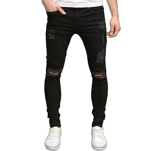 e332eb01a54dc Enzo Mens Ripped Super Stretch Skinny Distressed Jeans