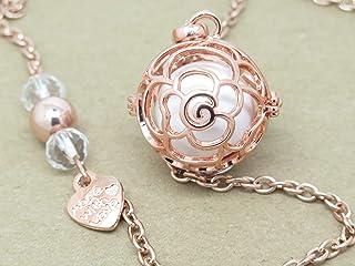 Bola de Grossesse Couleur Or Rose Fleur avec Perles Pierre Fine Hématite et Cœur Cadeau Grossesse F de Bm créations