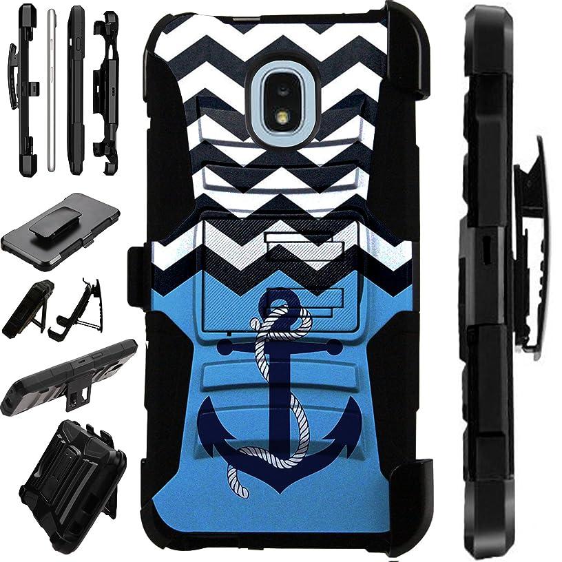 Samsung Galaxy J7 (2018)   J7 Crown   J7 Eon   J7 Star   J7 Top Case Armor Hybrid Phone Cover Kick Stand LuxGuard Holster (Anchor Wave)