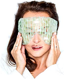 Jade Eye Mask by Ivony - Made of 100% Natural Jade Stone - Cooling Eye Mask Best for Cold Therapy - Help Reduce Puffy Eyes, Sinus, Headache, Migraine Relief