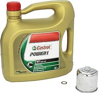 Castrol Power1 (10W 40) Ölwechsel Set Suzuki Bandit S 650 ABS (GSF 650 S), Bj. 05 13   Motoröl, K&N Chrom Ölfilter und Dichtring