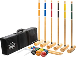 Franklin Sports Croquet Set - Includes Croquet Wood Mallets, All Weather Balls, Wood Stakes and Metal Wickets - Classic Fa...