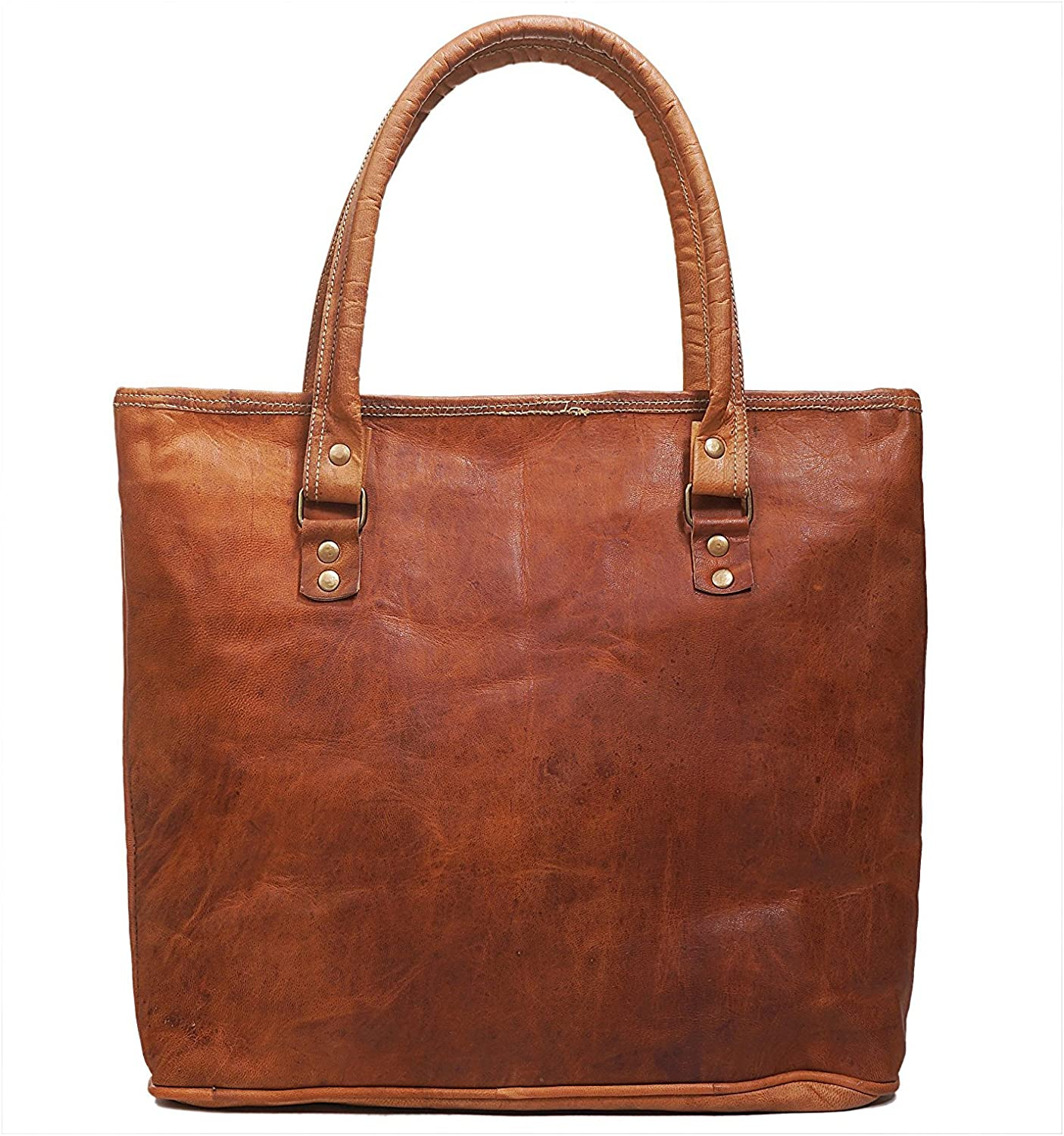 Leather Top Handle Handbags Vintage Style Tote Bag for Women Girls (Without Strap)