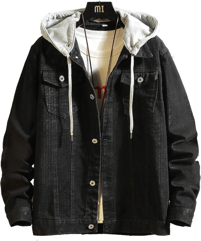 DOSLAVIDA Men's Distressed Denim Jacket Unisex Button Down Jean Coat Casual Long Sleeve Trucker Hooded Jackets Outwear