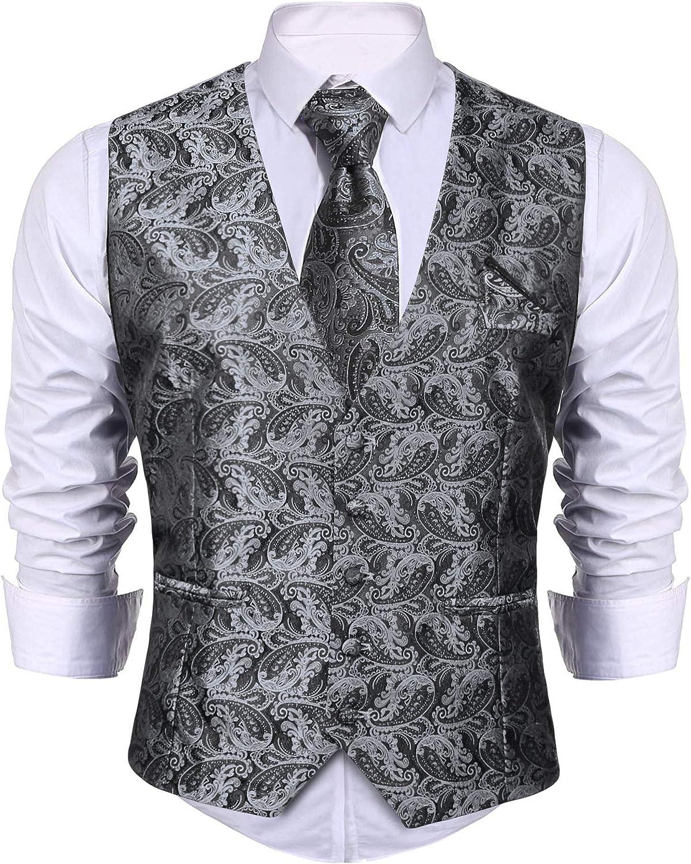 iClosam Men 3 Pieces Set Vest Waistcoat Suit Dress Vest Tuxedo Vest for Business Wedding Party
