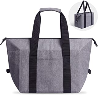Insulated Thermal Bag, Sturdy Large Fine Reusable Grocery Tote, Cold Hot Food Transport, Zipped Top, Shopping Travel Picnic BBQ,Size L (22Lx13W)