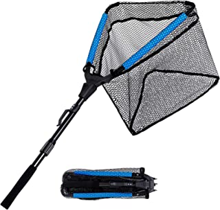 PLUSINNO Floating Fishing Net, Rubber Coated Fish Landing Net - Easy Catch and Release, Foldable Telescopic Fishing Net fo...