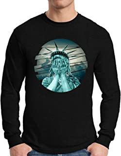 Awkward Styles Men's Statue of Liberty The Crying Lady Graphic Long Sleeve T Shirt Tops