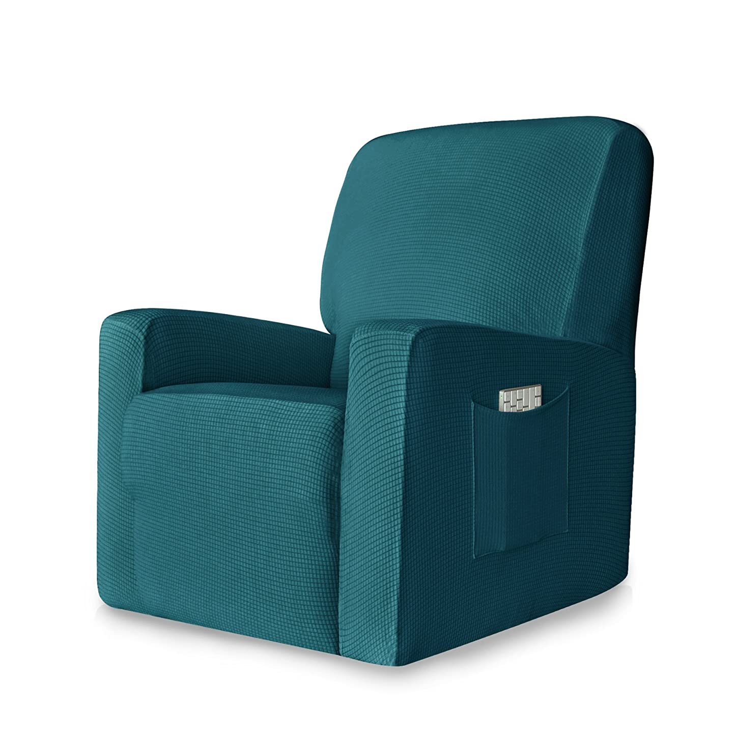変動する適度なの面では(Recliner, Blue) - CHUN YI 1-Piece Stretch Spandex Jacquard Recliner Chair Slipcovers (Recliner, Blue)