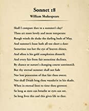 William Shakespeare Sonnet 18 Wall Decor Art Print - 8x10 unframed typography book page print - great gift for book and li...