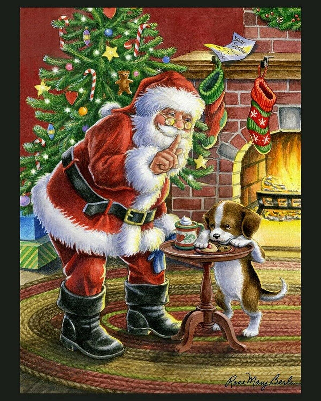 Cookie Thief Digital Panel Cotton mart Quilt Fabric online shopping x Dog 36 Santa 44