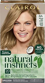 Clairol Natural Instincts Semi-Permanent Hair Dye, 8A Medium Cool Blonde Hair Color, 1 Count