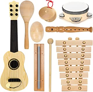 Wooden Musical Instruments for Kids Band Class Preschool School Learning Kids Musical Toys for Toddlers 1-3 Grade Toddler Music Set Maracas Guitar Xylophone Tambourine Chime Castanet Shaker Egg Flute
