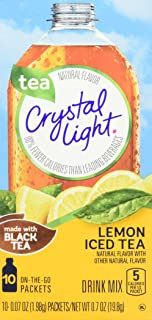 Crystal Light Lemon Iced Tea Drink Mix (10 On the Go Packets), 0.7 Oz, Pack of 6