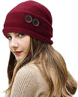 New Womens 100% Wool Slouchy Wrinkle Button Winter Bucket Cloche Hat T178