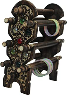 DECORVAIZ Wooden Hand Carved Bangle Stand - Antique Brown
