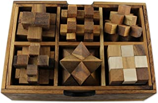 NOVICA Brown Hand crafted Raintree Wood Puzzle Game,'Puzzles' (Set of Six)