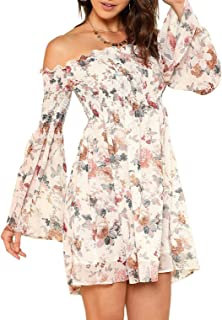 Women's Casual Floral Print Off Shoulder Trumpet Sleeve...