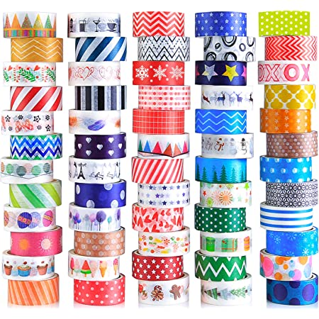 60 Rolls Washi Tape Set, Decorative Colored Tape for Scrapbooking Supplies, Bullet Journals, DIY Craft, Gift Wrapping, Planners, Cute Washi Tape for Kids and Аdults, 15mm Wide