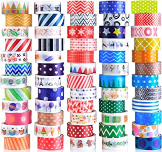 60 Rolls Washi Tape Set, Decorative Colored Tape for Scrapbooking Supplies, Bullet Journals, DIY Craft, Gift Wrapping, Pla...