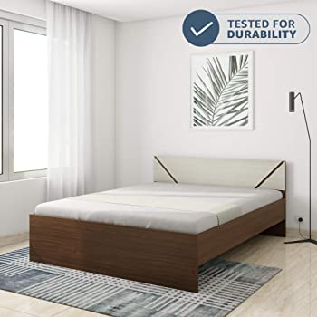 Amazon Brand - Solimo Tucana Engineered Wood Queen Bed (Walnut Finish)