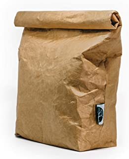 VIRGIN PULP Reusable Classic Brown Insulated Paper Lunch Bag | Tyvek | Eco-Friendly, Washable, Durable, Leakproof | For Men, Women, Kids at Work, School, Picnic (6L)