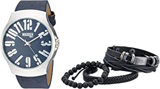 Silver-Tone and Navy Blue Band Watch with Stackable Multi...
