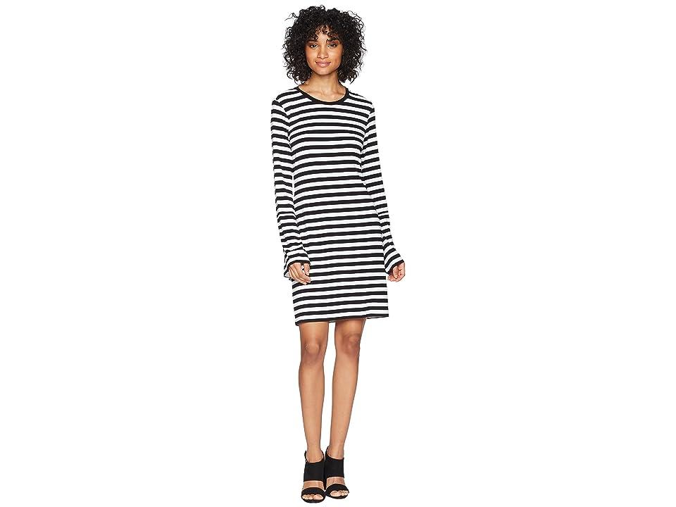 MICHAEL Michael Kors Flare Sleeve Striped Dress (Black/White) Women