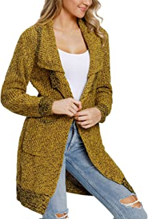 Happy Sailed Women Sleeve Open Front Chunky Warm Knit Pullover Sweater Long Cardigans Pockets
