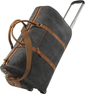 Kattee Luggage Rolling Duffel Bag Leather Trim Canvas Wheeled Travel Bag 50L