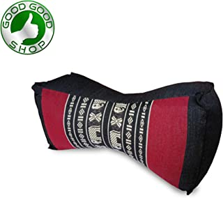 Good Good Shop, Neck Pillow,Yoga Block Eco-Friendly Organic and Natural, 13x6x4 inches, Kapok, Bolster, Small Block, Travel Pillow (Black/Red Elephant)