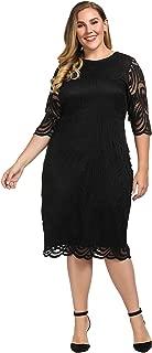 Women's Plus Size Lined Elegant Shift Dress with Scalloped Lace Hem & Cuff