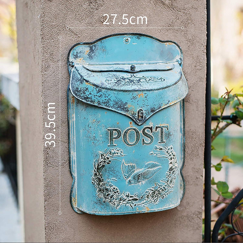 GETZ MSYO Buz/ón Hierro Forjado Buz/ón de Correos Exterior Vintage Dise/ño de Granja Verde//Azul Buz/ón de Correo de Metal Shabby Chic con Acabado Antiguo AllChic