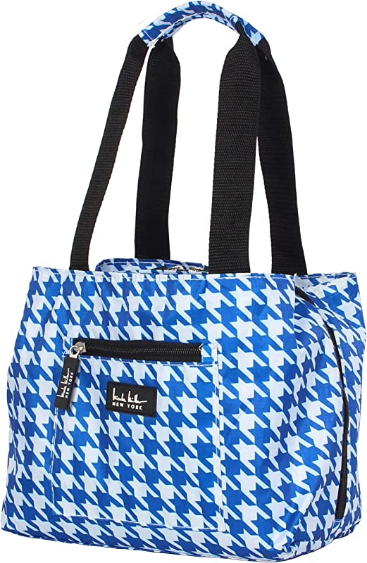 Nicole Miller Luggage Insulated Lunch Tote Bag Houndstooth Blue