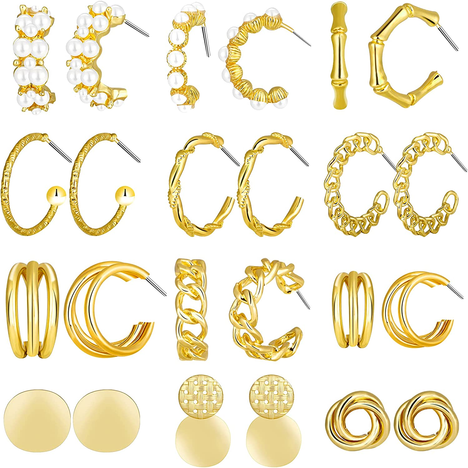 Mukum 12 Pairs Gold Hoop Earrings Set for Women Chunky Hoops Earrings Thick Open Twisted Link Hoop Gold Jewelry Sets for Women Girls Birthday Gifts