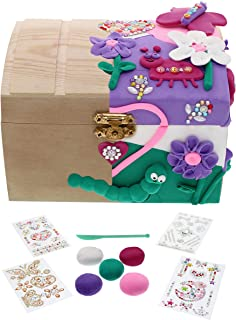 Kids Jewelry Box for Girls! Creative Craft Kit with Wooden Jewelry Box, 5 Colors Air Dry Clay, Sculpting Tool, & 4 Sheets Glitter Gem Stickers | Makes a Great Girl Gift, Fun DIY Arts and Crafts Set
