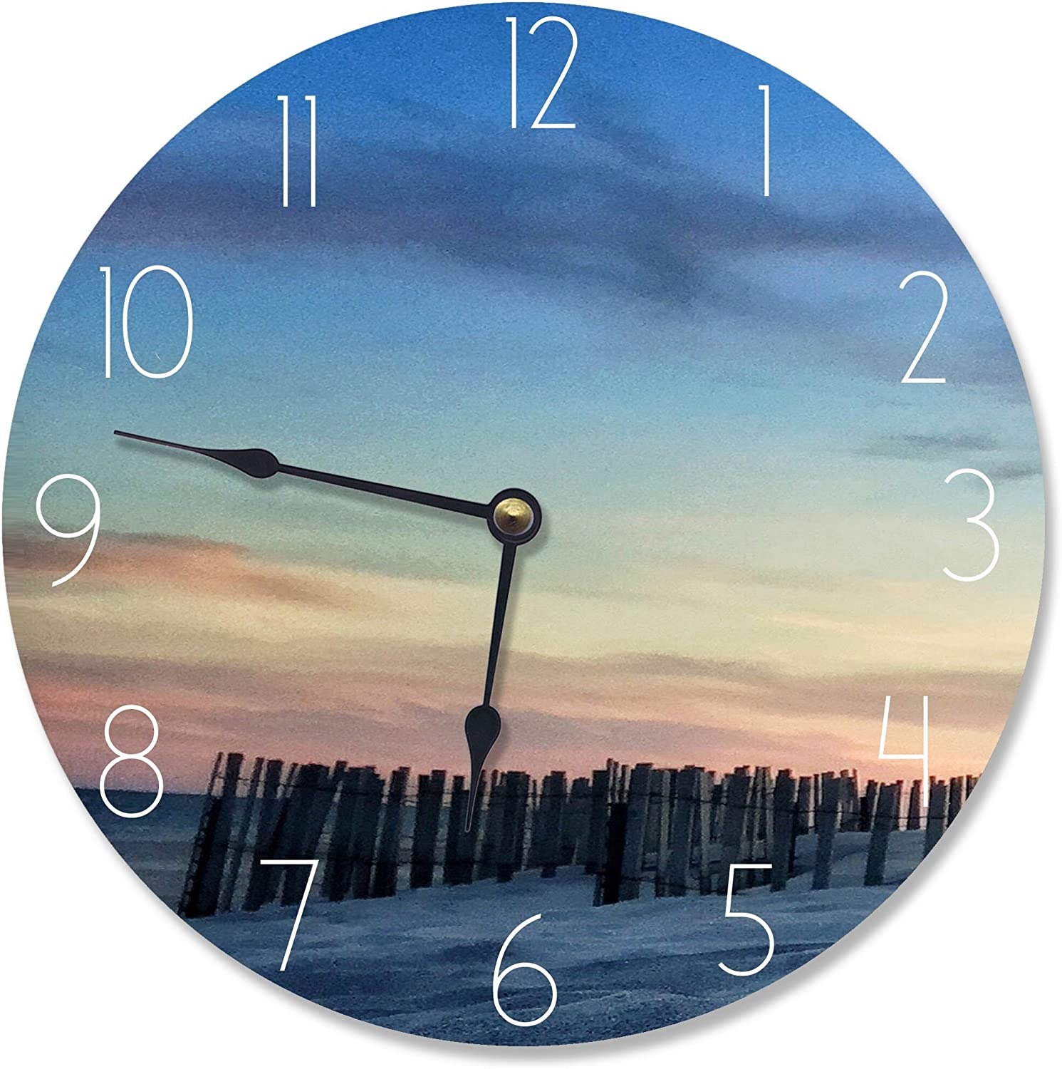 The Stupell Home Decor Collection Sand Dune Fence At Sundown Vanity Clock