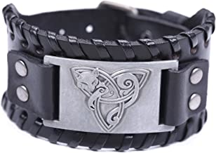 Trinity Knot and Fox Bracelet for Men Trlquetra Wolf Viking Norse Leather Wristband Bangle