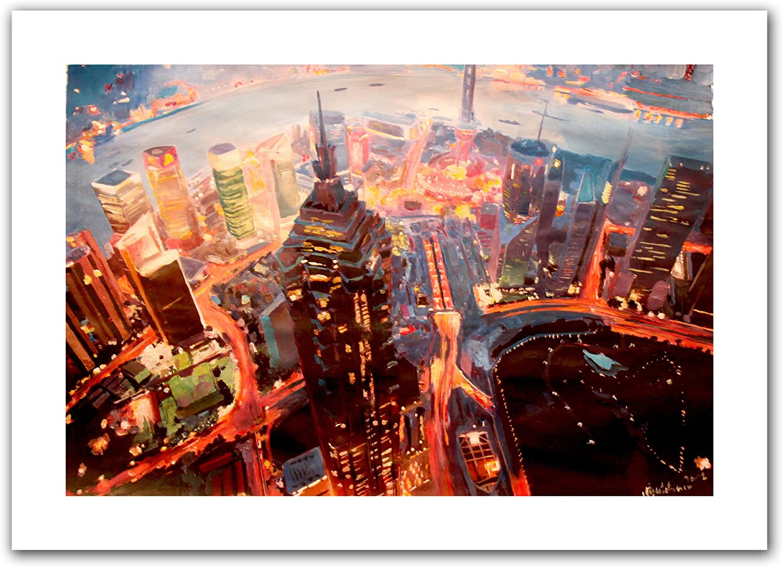 Art Wall 'Shanghai Skyline at Dusk' Unwrapped Canvas Artwork by Markus Bleichner, 20 by 28Inch