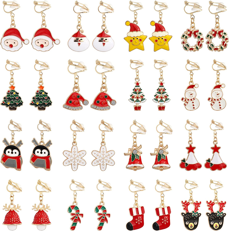 SOTOGO 16 Pairs Clip On Earrings Christmas Tree Santa Elk Snowman Earrings for Little Girls and Women Fashion