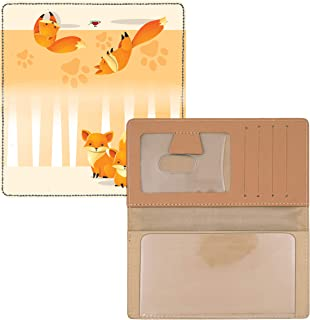 Playful Foxes Personal Leather Checkbook Cover for Top Tear Personal Checks