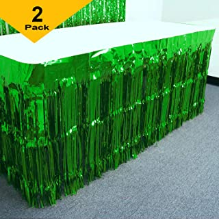 GIFTEXPRESS Mardi Gras Themed Metallic Fringe Table Skirt Set of 2 (Green, 2-pack)